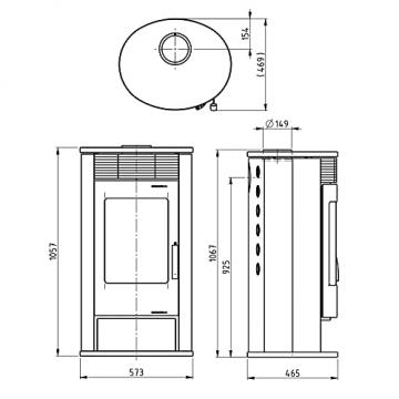 THERMIA Kaminofen Olympus E Stahl gussgrau, 7kW, ovale Form, abgerundete Sichtscheibe Bauart 1 Energieeffizienzklasse A+ Holzofen mit Holzfach 150mm Rauchrohr V6 - 6