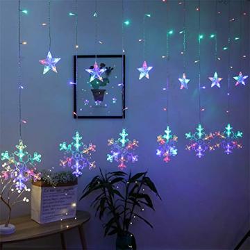Towinle LED Lichterkette Sternen Schneeflocke Lichtervorhang 138 LEDs Led Schneeflocke Sternenvorhang mit Netzstecker 8 Lichtermodi Led Kette Weihnachten Party Fester Deko - 1