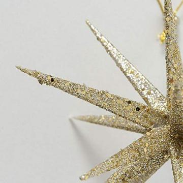 Trendshop-online 2er Set Stern Weihnachtsanhänger goldfarbig Glitzer Christbaumschmuck Dekoanhänger Weihnachten Weihnachtsdeko Adventdeko Türkranz - 3