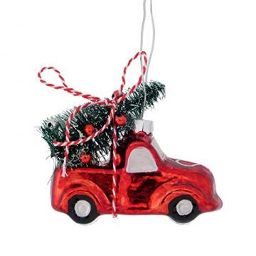 Trendshop-online Christbaumschmuck Car mit Weihnachtsbaum Weihnachtsanhänger Dekoanhänger Weihnachten Weihnachtsdeko Adventdeko Türkranz - 1