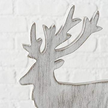 Trendshop-online Hirsch Elch Holz Weihnachten REH Rendtier Weihnachtsdeko Landhaus Tischdeko Fensterdeko Adventdeko Adventkranz - 2