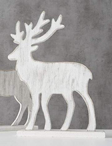 Trendshop-online Hirsch Elch Holz Weihnachten REH Rendtier Weihnachtsdeko Landhaus Tischdeko Fensterdeko Adventdeko Adventkranz - 1