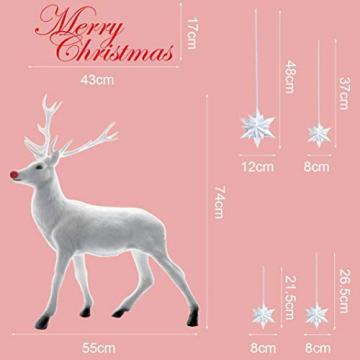UMIPUBO Weihnachten Aufkleber Fenster Dekoration Weißer großer Elch Fensteraufkleber Schneeflocke Fensterbild PVC Entfernbarer Elektrostatischer Aufkleber Weihnachtssticker (Weihnachten) - 6
