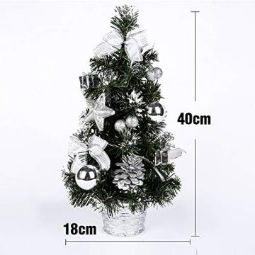 Urmagic Mini LED Weihnachtsbaum klein Künstlicher Tannenbaum mit LED Lichterkette Beleuchtung und Baumschmuck Weihnachtskugeln Künstliche Weihnachtsbäume weihnachts Desktop dekoration - 2