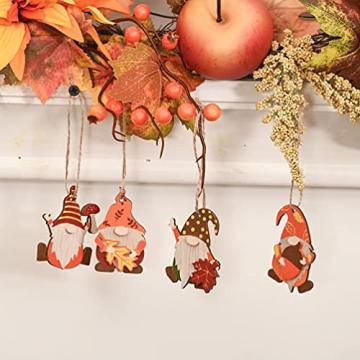 VALERY MADELYN Holz Deko Hänger Herbst Dekoration Figuren 24er Set 4.5-5.5cm Zwerg Wichtel Ahornblatt Pilz Herstdeko Bunte bemalt Fensterhänger mit Schnur zum Aufhängen Erntedankfest Thanksgiving - 7