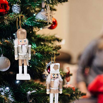 VALICLUD 5 Stücke Weihnachten Nussknacker Figuren Puppe Baumschmuck Soldaten Holz Dekofigur Weihnachtsfiguren Holzfiguren Tischdeko Geschenke Weihnachtsbaum Anhänger Ornamente Xmas Deko - 2