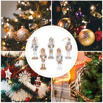 VALICLUD 5 Stücke Weihnachten Nussknacker Figuren Puppe Baumschmuck Soldaten Holz Dekofigur Weihnachtsfiguren Holzfiguren Tischdeko Geschenke Weihnachtsbaum Anhänger Ornamente Xmas Deko - 3