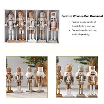 VALICLUD 5 Stücke Weihnachten Nussknacker Figuren Puppe Baumschmuck Soldaten Holz Dekofigur Weihnachtsfiguren Holzfiguren Tischdeko Geschenke Weihnachtsbaum Anhänger Ornamente Xmas Deko - 4