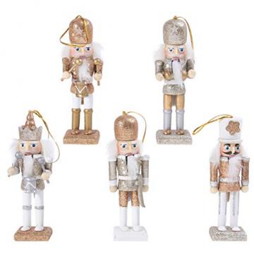 VALICLUD 5 Stücke Weihnachten Nussknacker Figuren Puppe Baumschmuck Soldaten Holz Dekofigur Weihnachtsfiguren Holzfiguren Tischdeko Geschenke Weihnachtsbaum Anhänger Ornamente Xmas Deko - 1