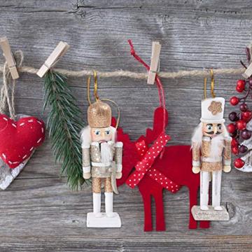 VALICLUD 5 Stücke Weihnachten Nussknacker Figuren Puppe Baumschmuck Soldaten Holz Dekofigur Weihnachtsfiguren Holzfiguren Tischdeko Geschenke Weihnachtsbaum Anhänger Ornamente Xmas Deko - 5