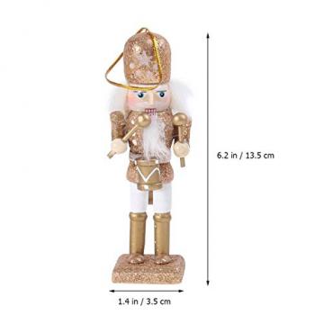 VALICLUD 5 Stücke Weihnachten Nussknacker Figuren Puppe Baumschmuck Soldaten Holz Dekofigur Weihnachtsfiguren Holzfiguren Tischdeko Geschenke Weihnachtsbaum Anhänger Ornamente Xmas Deko - 7