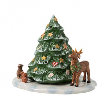 Villeroy & Boch - Christmas Toy's Memory Weihnachtsaum mit Waldtieren, dekorative Figur aus Hartporzellan, für Teelichter geeignet, bunt, 23 x 17 x 17 cm - 1