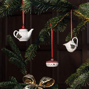 Villeroy & Boch Toys Delight Decoration Ornamente Kaffeeset 3tlg, Premium Porzellan, Textilien, Metall, weiß, rot, 6.3 - 2