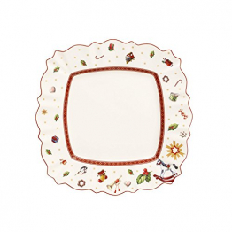 Villeroy & Boch Toy's Delight Eckiger Speiseteller, 28,5 x 28,5 cm, Premium Porzellan, Weiß/Rot - 1