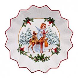 Villeroy & Boch - Toy's Fantasy Schale groß, Christkind, dekorative Weihnachtsschale aus Premium Porzellan, 24 x 24 x 4.5 cm, bunt/rot/weiß - 1