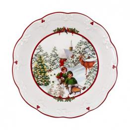 Villeroy & Boch - Toy's Fantasy Schale groß, Schlittenfahrt, dekorative Snackschale aus Premium Porzellan, 24.5 x 24.5 x 4 cm, bunt/rot/weiß - 1