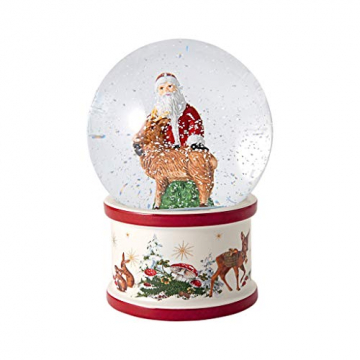 """Villeroy und Boch - Christmas Toy's """"Santa und Hirsch"""" Schneekugel, große Schüttelkugel mit Santa Claus aus Hartporzellan, weihnachtliche Motive, Glaskugel, bunt - 1"""