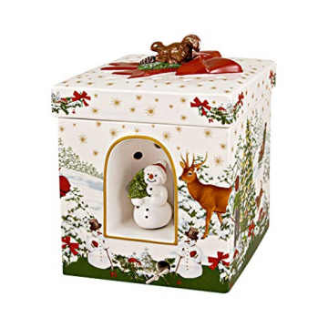 """Villeroy und Boch - Christmas Toy's Windlicht """"Weihnachtsbaum"""" groß eckig, dekoratives Geschenkpaket aus Hartporzellan, für Teelichter geeignet, integrierte Spieluhr, bunt - 1"""