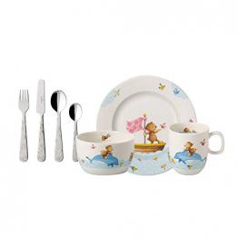 Villeroy und Boch Happy as a Bear Kinder-Tafelservice, 7-teilig, Premium Porzellan/Edelstahl, Weiß/Bunt - 1