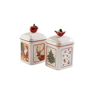 Villeroy und Boch Special Offer Charm Marmeladendose Toy's Delight Set 2 tlg., Konfitüren-Gefäß aus Hartporzellan, bunt, eckig - 2