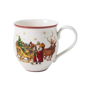 """Villeroy und Boch - Toy's Delight Becher mit Henkel """"Santa mit Schlitten"""", Sammelbecher aus Premium Porzellan, bunt/grün/rot, 440 ml - 1"""