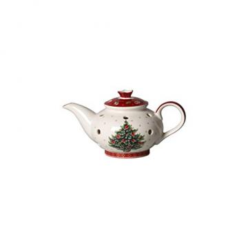 Villeroy und Boch Toy's Delight Decoration Teelichthalter Kaffeekanne, Weihnachtsdekoration aus Premium Porzellan, weiß, rot - 1