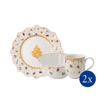 Villeroy und Boch - Toys Delight Frühstücks-Set für 2, 6tlg., weihnachtliches Geschirr-Set für 2 Personen aus der Jubiläumsedition, Porzellan, weiß - 2