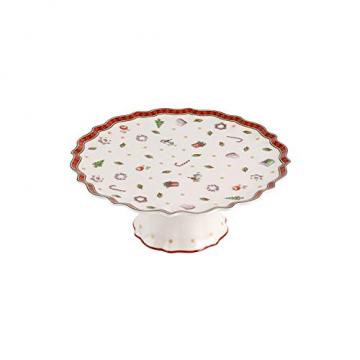 Villeroy und Boch Toy's Delight Kleine Kuchenplatte auf Fuß, 21 cm, Premium Porzellan, Weiß/Rot - 1