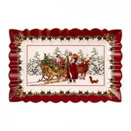 Villeroy und Boch - Toy's Fantasy Kuchenplatte eckig, festlicher Servierteller aus Premium Porzellan, 35 x 23 x 3,5 cm, bunt/rot/weiß - 1