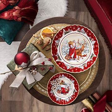 Villeroy und Boch - Toy's Fantasy Schale rund, Santa mit Waldtieren, große Snackschale aus Premium Porzellan, 25 x 25 x 5 cm, bunt/rot/weiß - 2