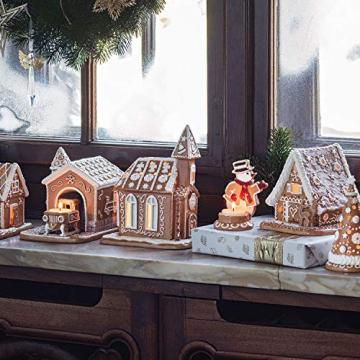 Villeroy und Boch - Winter Bakery Decoration Lebkuchenhaus, dekorativer Teelichthalter aus Hartporzellan, braun/weiß - 4