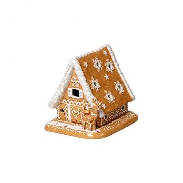 Villeroy und Boch - Winter Bakery Decoration Lebkuchenhaus, dekorativer Teelichthalter aus Hartporzellan, braun/weiß - 1