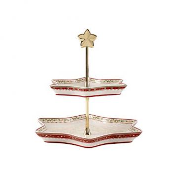 """Villeroy und Boch Winter Bakery Delight Etagere """"Ilex"""", Premium Porzellan, Weiß/Rot/Beige - 1"""