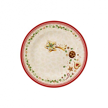 """Villeroy und Boch Winter Bakery Delight Frühstücksteller """"Sternschnuppe"""", 21,5 cm, Premium Porzellan, Weiß/Rot/Beige - 1"""