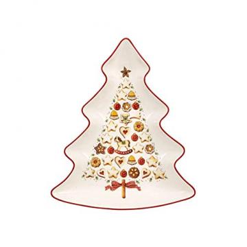 Villeroy und Boch Winter Bakery Delight Große Schale in Baum-Form, Premium Porzellan, Weiß/Rot - 1
