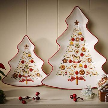 Villeroy und Boch Winter Bakery Delight Kleine Schale in Baum-Form, Premium Porzellan, Weiß/Rot/Beige - 2