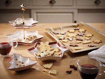 Villeroy und Boch Winter Bakery Delight Kleine Schale in Baum-Form, Premium Porzellan, Weiß/Rot/Beige - 4