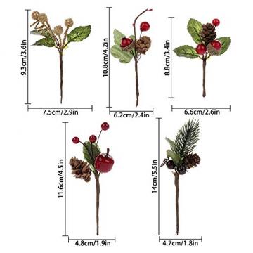 VKTY Weihnachtsblumen-Arrangement, 20 Stück, künstliche Tannenzapfen, Beeren-Stiele, Deko, Blumensträuße, Siehe Abbildung - 2