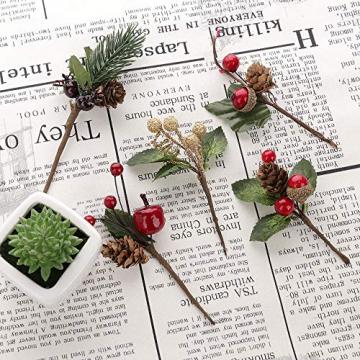 VKTY Weihnachtsblumen-Arrangement, 20 Stück, künstliche Tannenzapfen, Beeren-Stiele, Deko, Blumensträuße, Siehe Abbildung - 3