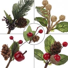 VKTY Weihnachtsblumen-Arrangement, 20 Stück, künstliche Tannenzapfen, Beeren-Stiele, Deko, Blumensträuße, Siehe Abbildung - 1