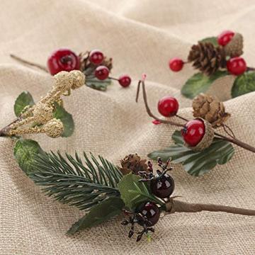 VKTY Weihnachtsblumen-Arrangement, 20 Stück, künstliche Tannenzapfen, Beeren-Stiele, Deko, Blumensträuße, Siehe Abbildung - 4