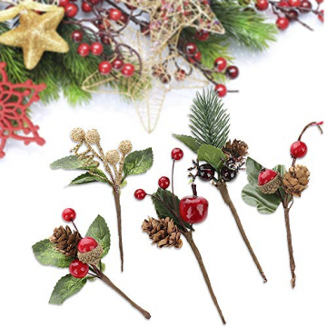 VKTY Weihnachtsblumen-Arrangement, 20 Stück, künstliche Tannenzapfen, Beeren-Stiele, Deko, Blumensträuße, Siehe Abbildung - 5