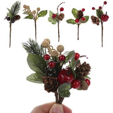 VKTY Weihnachtsblumen-Arrangement, 20 Stück, künstliche Tannenzapfen, Beeren-Stiele, Deko, Blumensträuße, Siehe Abbildung - 6