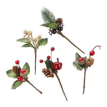 VKTY Weihnachtsblumen-Arrangement, 20 Stück, künstliche Tannenzapfen, Beeren-Stiele, Deko, Blumensträuße, Siehe Abbildung - 7
