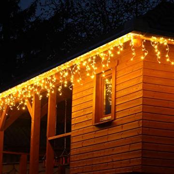 VOLTRONIC® 200 400 600 LED Eisregen Lichterkette für innen und außen, Farbwahl: warmweiß/kaltweiß/kaltweiß+warmweiß, GS geprüft, IP44, optional mit 8 Leuchtmodi/Fernbedienung/Timer - 2