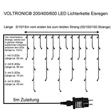 VOLTRONIC® 200 400 600 LED Eisregen Lichterkette für innen und außen, Farbwahl: warmweiß/kaltweiß/kaltweiß+warmweiß, GS geprüft, IP44, optional mit 8 Leuchtmodi/Fernbedienung/Timer - 4