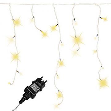 VOLTRONIC® 200 400 600 LED Eisregen Lichterkette für innen und außen, Farbwahl: warmweiß/kaltweiß/kaltweiß+warmweiß, GS geprüft, IP44, optional mit 8 Leuchtmodi/Fernbedienung/Timer - 1