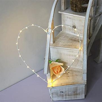 Wankd 35er LED Lichterkranz, Herz, Warmweiß, Batteriebetrieben, Dekorative LED-Lichter aus Eisendraht zum Aufhängen, In-Outdoor Hochzeit Party (1PCS) - 2
