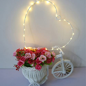 Wankd 35er LED Lichterkranz, Herz, Warmweiß, Batteriebetrieben, Dekorative LED-Lichter aus Eisendraht zum Aufhängen, In-Outdoor Hochzeit Party (1PCS) - 3