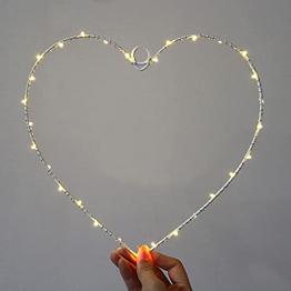 Wankd 35er LED Lichterkranz, Herz, Warmweiß, Batteriebetrieben, Dekorative LED-Lichter aus Eisendraht zum Aufhängen, In-Outdoor Hochzeit Party (1PCS) - 1